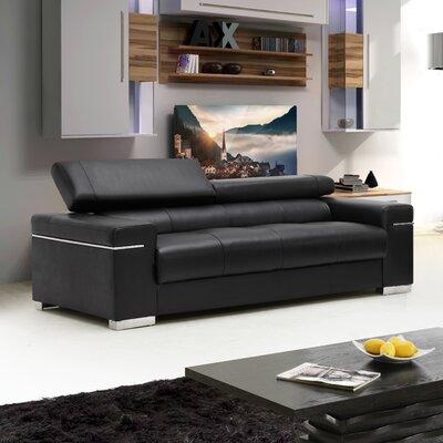 Orlando Leather Sofa Upholstery: Black