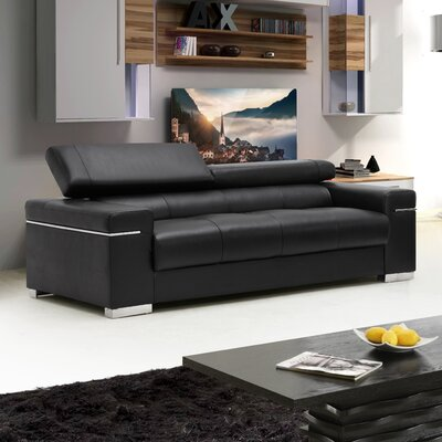 Orlando Leather Loveseat Upholstery: Black