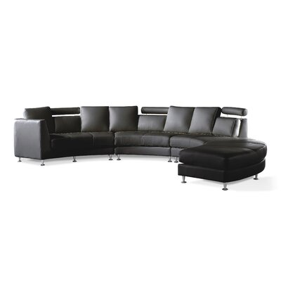Roberson 4 Piece Leather Circular Living Room Set Upholstery: Black