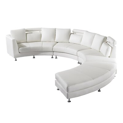 Roberson 4 Piece Leather Circular Living Room Set Upholstery: Off-White