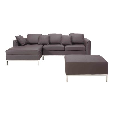 Catlett Sectional with Ottoman Upholstery: Brown, Orientation: Left Hand Facing