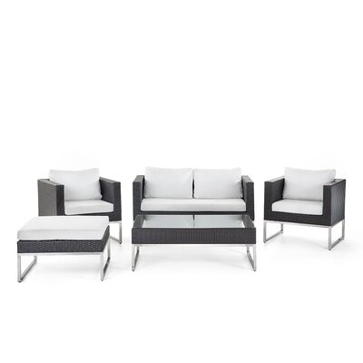 Kabir Garden Furniture 5 Piece Deep Seating Group with Cushions Finish: Brown/White