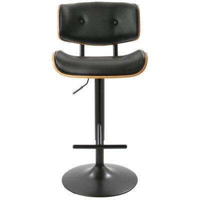 Arlon Adjustable Height Swivel Bar Stool with Cushion Upholstery: Black