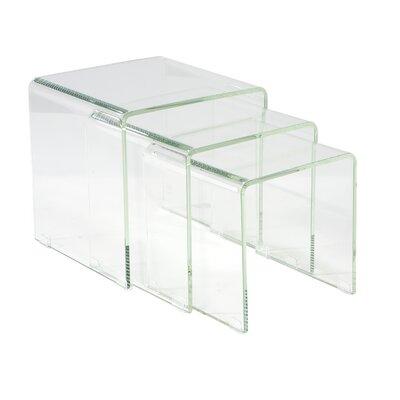 Cherrelle 3 Piece Nesting Table Set Finish: White Glass