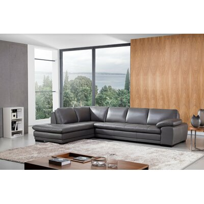 Stockbridge Leather Sectional Upholstery: Gray, Orientation: Left Hand Facing