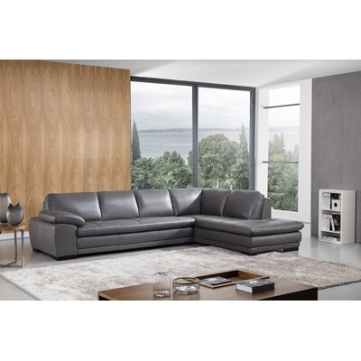Stockbridge Leather Sectional Upholstery: Gray, Orientation: Right Hand Facing