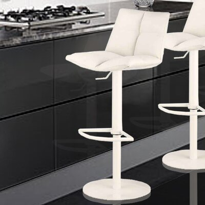 Maitland Adjustable Height Swivel Bar Stool with Cushion Upholstery: White, Finish: White Painted Metal