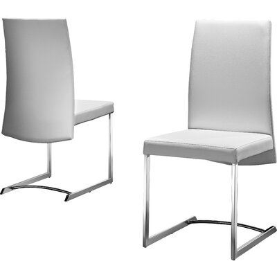 Skyler Genuine Leather Upholstered Dining Chair (Set of 2) Upholstery: White