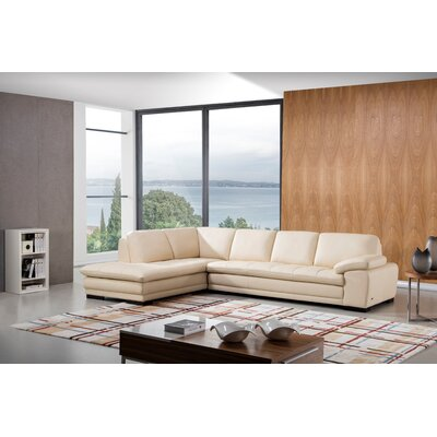Stockbridge Leather Sectional Upholstery: Beige, Orientation: Left Hand Facing