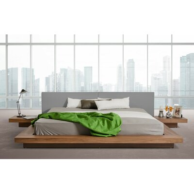 Carter Upholstered Platform Bed Size: Eastern King, Color: Walnut