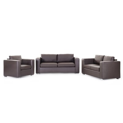 Mojokerto Leather 3 Piece Living Room Set Upholstery: Brown