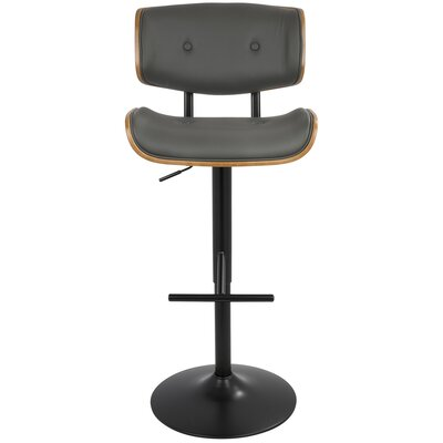 Arlon Adjustable Height Swivel Bar Stool Upholstery: Gray