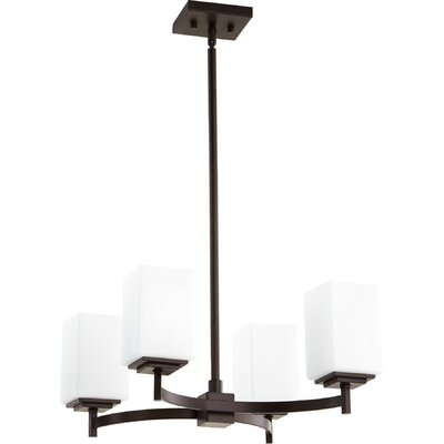 Hobart Transitional 4-Light Shaded Chandelier Finish: Oiled Bronze