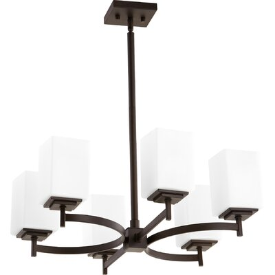 Hobart 6-Light Shaded Chandelier Finish: Oiled Bronze