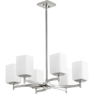 Hobart 6-Light Shaded Chandelier Finish: Satin Nickel