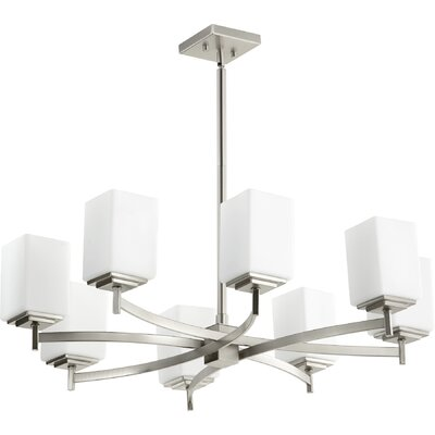 Hobart 8-Light Shaded Chandelier Finish: Satin Nickel
