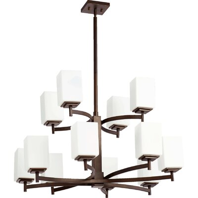 Hobart 12-Light Shaded Chandelier Finish: Oiled Bronze