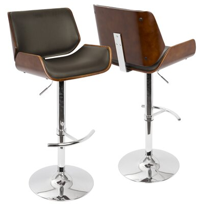 Connor Adjustable Height Swivel Bar Stool Upholstery: Brown, Finish: Cherry