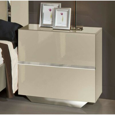 Decastro 2 Drawer Solid Wood Nightstand Color: Beige
