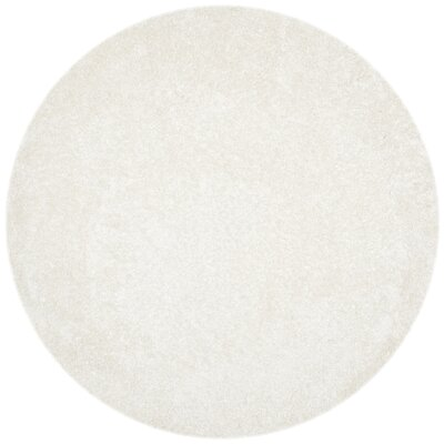 Chesa Hand-Tufted/Hand-Hooked White Area Rug Rug Size: Round 7
