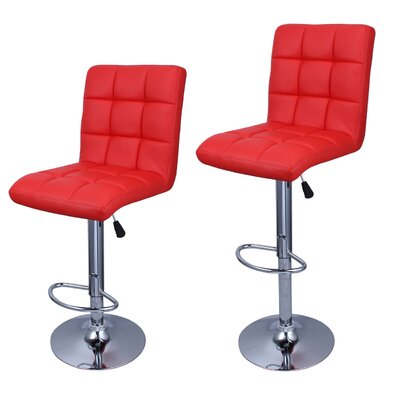 Cassini Adjustable Height Swivel Bar Stool Upholstery: Red