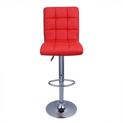 Cassini Adjustable Height Swivel Bar Stool Upholstery: Red