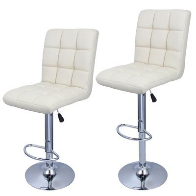 Cassini Adjustable Height Swivel Bar Stool Upholstery: Cream Soda