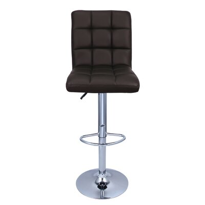 Cassini Adjustable Height Swivel Bar Stool Upholstery: Dark Brown