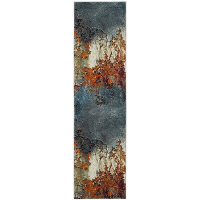 Acord Blue/Brown Area Rug Rug Size: Runner 22 x 6