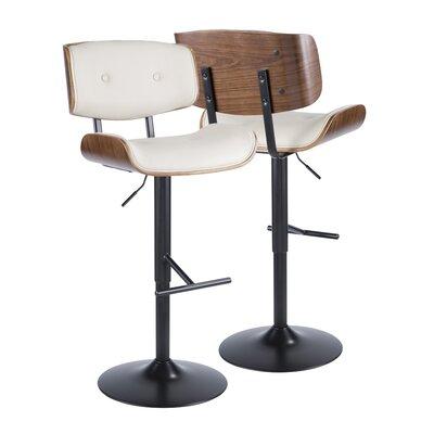 Arlon Adjustable Height Swivel Bar Stool Upholstery: Cream
