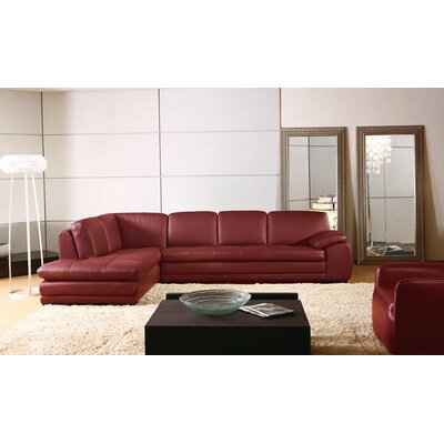 Stockbridge Leather Sectional Upholstery: Red, Orientation: Left Hand Facing