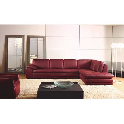 Stockbridge Leather Sectional Upholstery: Red, Orientation: Right Hand Facing