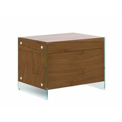 Andrew 1 Drawer Nightstand Color: Walnut Veneer