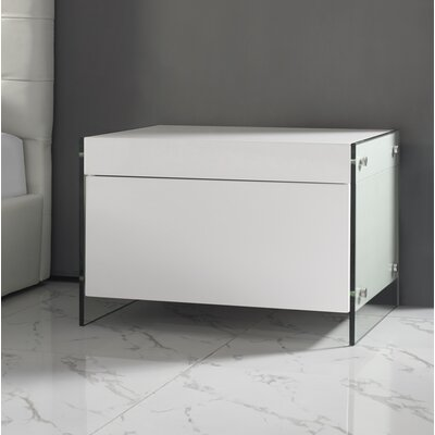 Andrew 1 Drawer Nightstand Color: White High Gloss