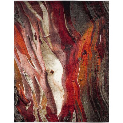 Brodick Red/Gray Area Rug Rug Size: Rectangle 67 X 9