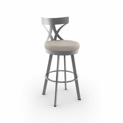 Leechburg 26 Swivel Bar Stool Finish: Glossy Gray, Upholstery: Beige Polyurethane