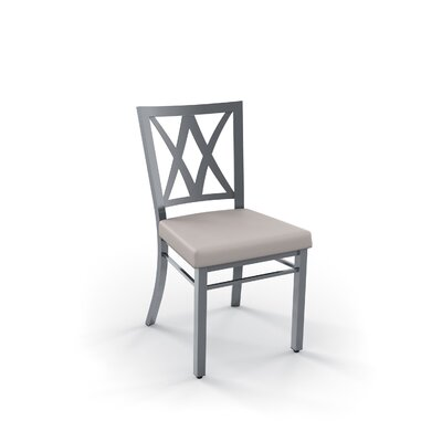 Leechburg Side Chair Finish: Glossy Gray, Upholstery: Beige Polyurethane