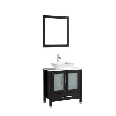 Powley 24 Single Sink Bathroom Vanity Set with Mirror Base Finish: Espresso
