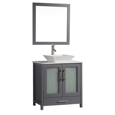 Powley 24 Single Sink Bathroom Vanity Set with Mirror Base Finish: Gray