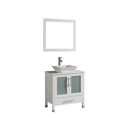 Powley 24 Single Sink Bathroom Vanity Set with Mirror Base Finish: White