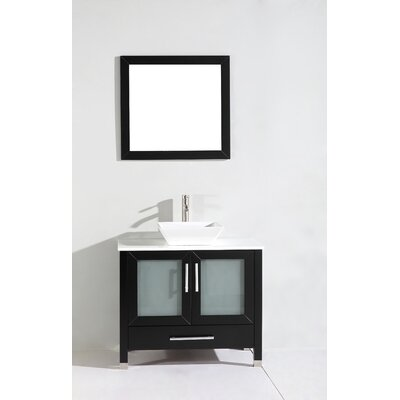 Powley 48 Single Sink Bathroom Vanity Set with Mirror Base Finish: Espresso