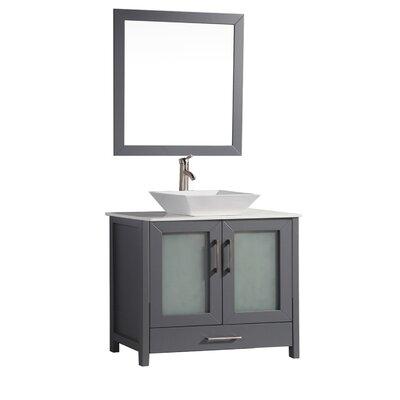 Powley 48 Single Sink Bathroom Vanity Set with Mirror Base Finish: Gray
