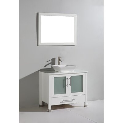 Powley 48 Single Sink Bathroom Vanity Set with Mirror Base Finish: White