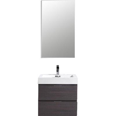 Tenafly 24 Single Wall Mount Modern Bathroom Vanity Set Base Finish: High Gloss Gray Oak