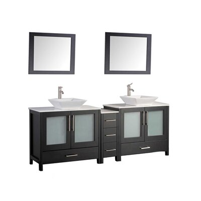 Powley 60 Double Sink Bathroom Vanity Set with Mirror Base Finish: Espresso