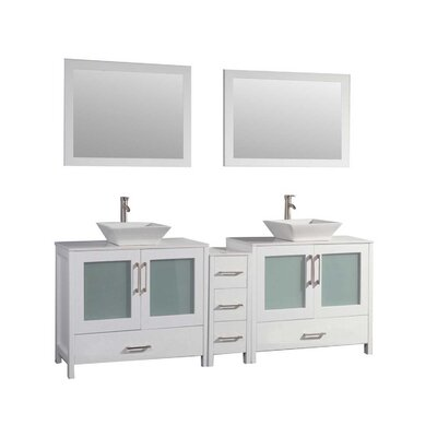 Powley 60 Double Sink Bathroom Vanity Set with Mirror Base Finish: White