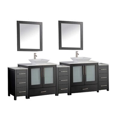 Powley 108 Double Sink Bathroom Vanity Set with Mirror Finish: Espresso