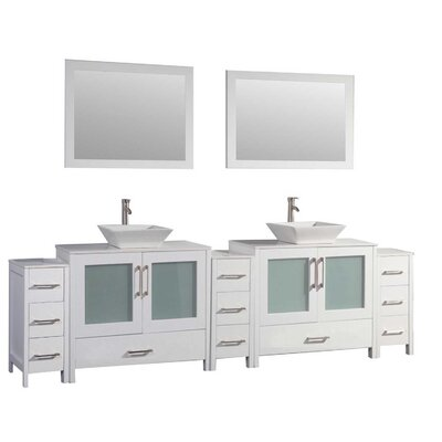 Powley 96 Double Sink Bathroom Vanity Set with Mirror Finish: White