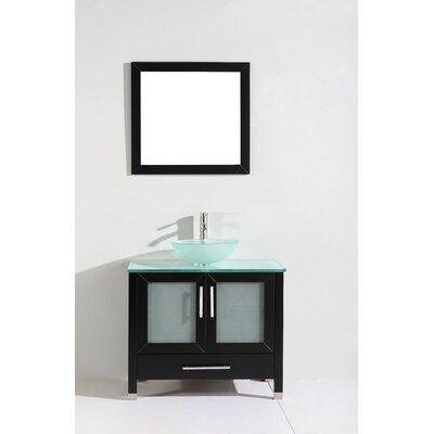Prado 36 Single Sink Bathroom Vanity Set with Mirror Base Finish: Espresso