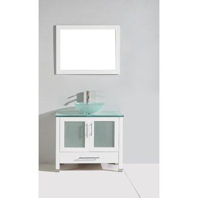 Prado 36 Single Sink Bathroom Vanity Set with Mirror Base Finish: White